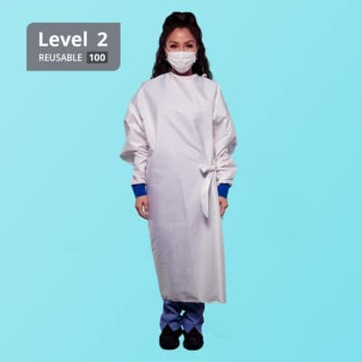 Washable Reusable Level 2 Isolation Gown - White Stripe - Front