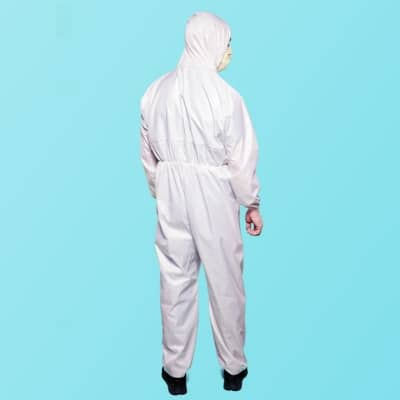 Washable Reusable Level 3 Isolation Coverall - White Stripe - Back