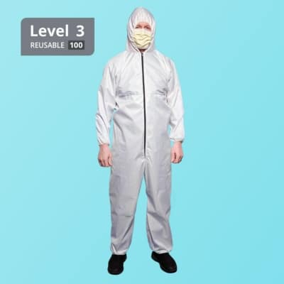 Washable Reusable Level 3 Isolation Coverall - White Stripe - Front