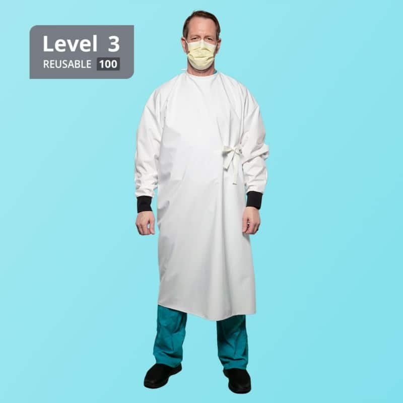 Washable Reusable Level 3 Isolation Gown - White - Front